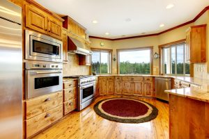 17848868 - wood luxury home kitchen interior. new farm american home.