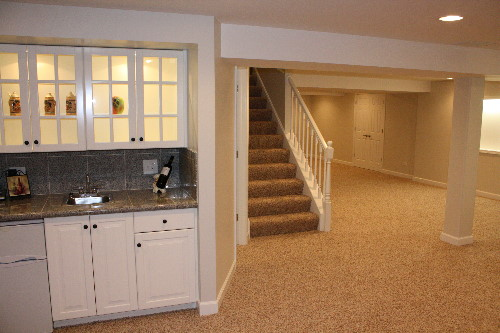 Freshly remodeled basement in residential home