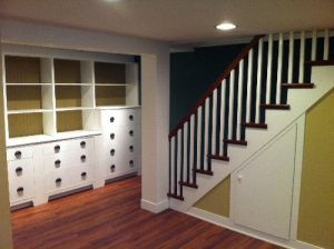 Basement with hardwood floors and new paint job
