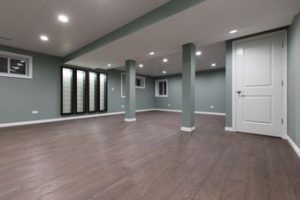Living area remodeled with new hardwood floors